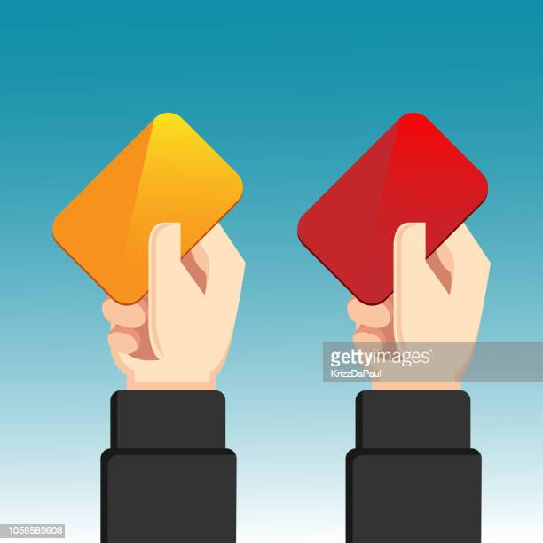 yellow card and red card - red card stock illustrations