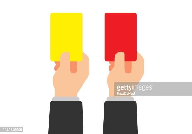 ilustraciones, imágenes clip art, dibujos animados e iconos de stock de tarjeta amarilla y tarjeta roja - penalty