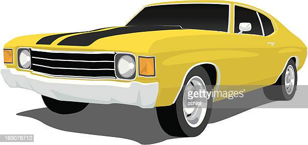 yellow chevelle ss - vehicle hood stock illustrations, clip art, cartoons, & icons