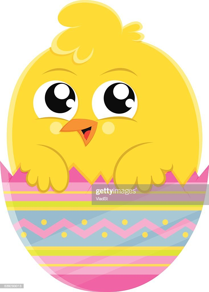 Yellow Chick Cartoon Character In Colorful Easter Egg High ...