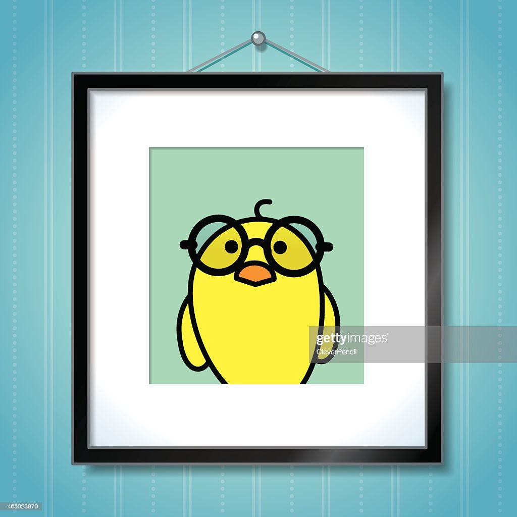 Yellow Chick wearing Round Glasses in Picture Frame