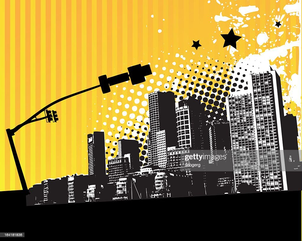 Yellow city design with stars and buildings