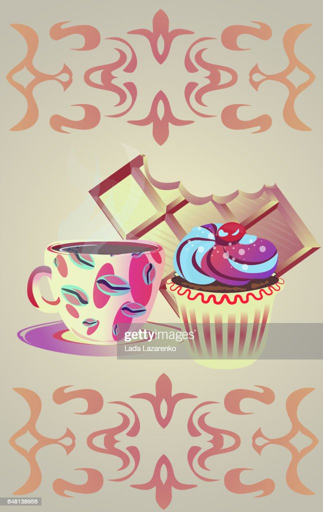 Yellow coffee mug with chocolate and cake