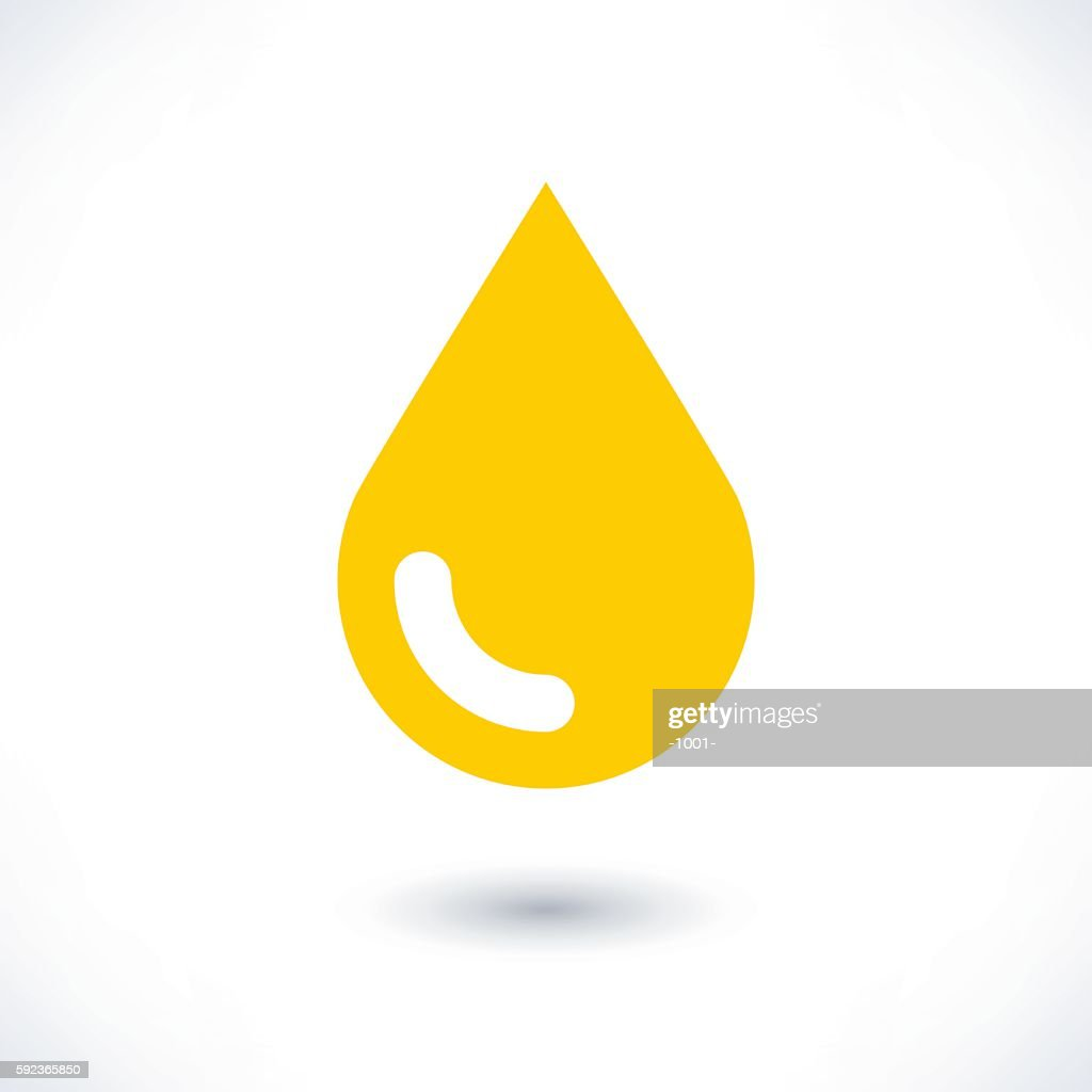 Yellow color drop icon with gray shadow on white