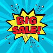 Yellow comic bubble with BIG SALE word on blue background. Comic sound effects in pop art style. Vector illustration.