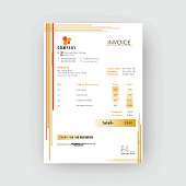 Yellow corporate invoice or estimate template.
