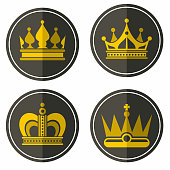 Yellow crown icons on color background