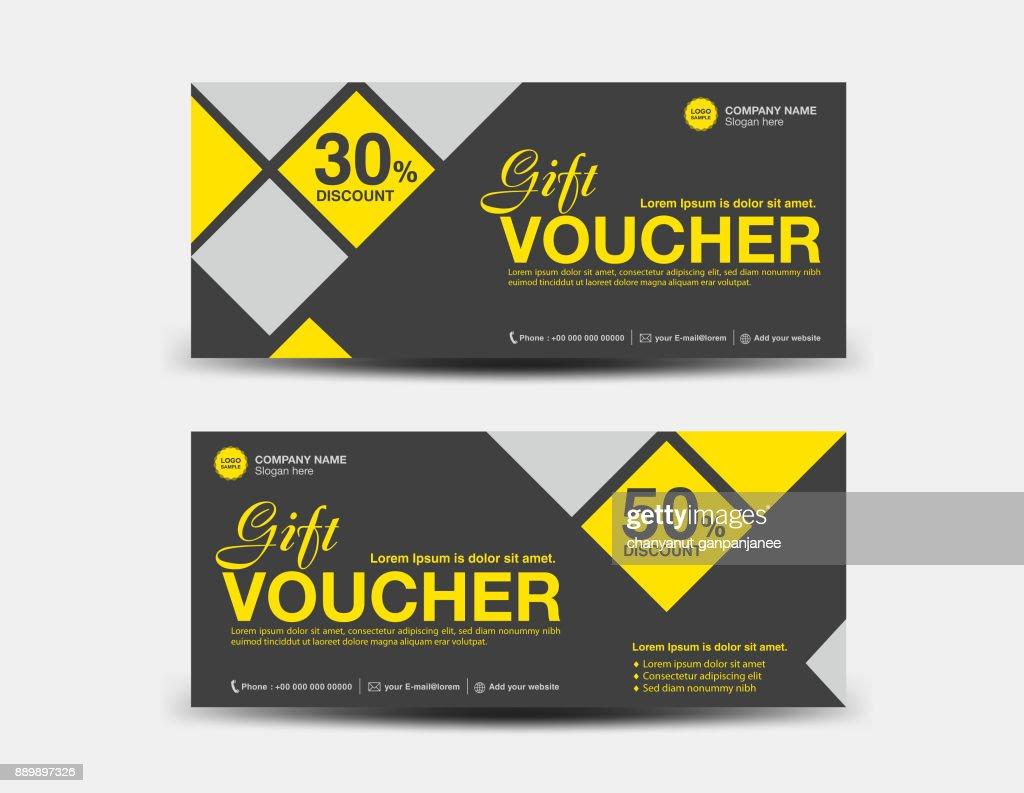 Yellow Discount Voucher Template Black Coupon Design Ticket Banner