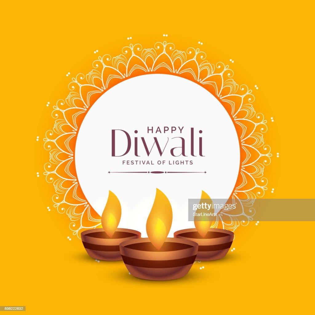 yellow diwali festival greeting design with three diya lamps
