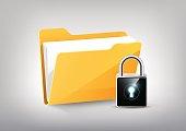 Yellow document folder directory icon isolated, padlock keyhole, transparent vector