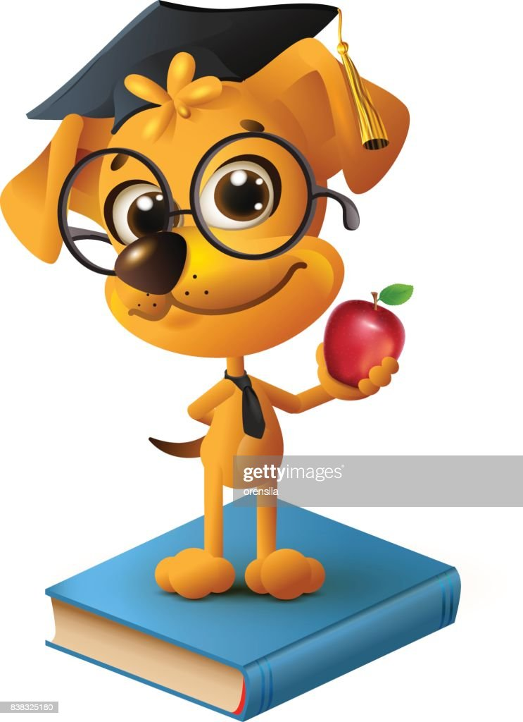 Yellow dog teacher holding red apple