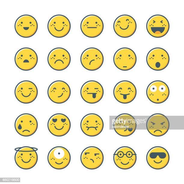 ilustrações, clipart, desenhos animados e ícones de coleção de emoticons amarelo conjunto 1 - smiley faces