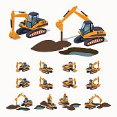 Yellow excavator. Special machinery