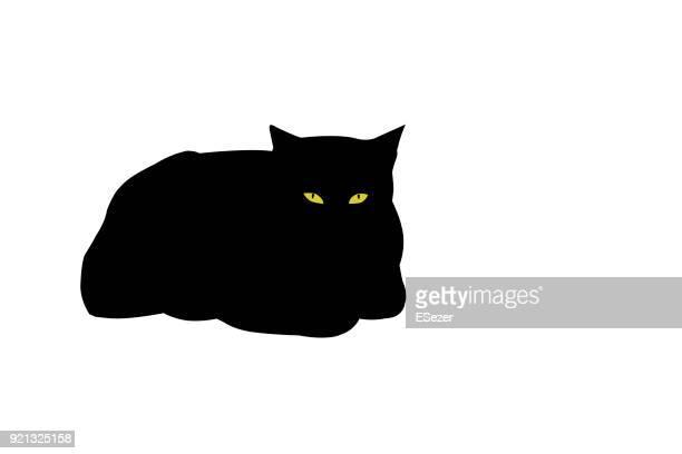 illustrations, cliparts, dessins animés et icônes de jaune aux yeux de chat noir - illustration - chat noir
