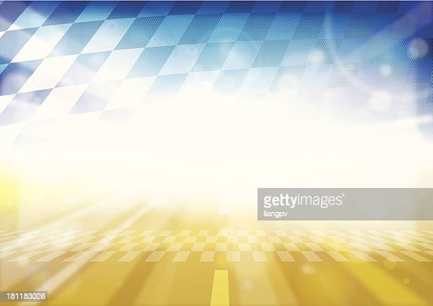 Yellow F1 racetrack and blue checkered flag background