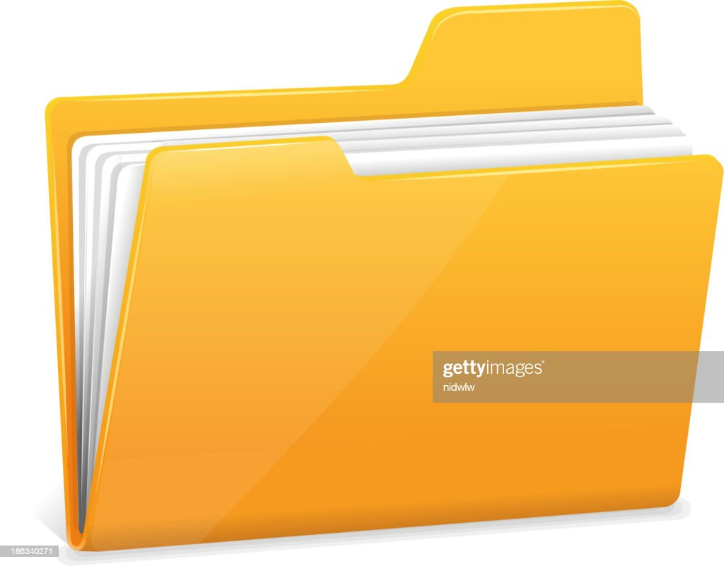 Yellow file folder with documents