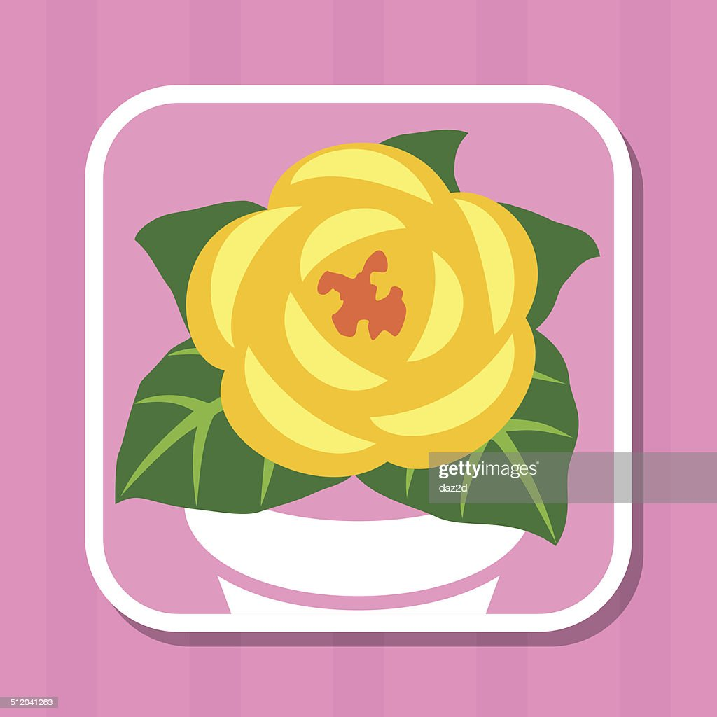 Yellow Flower In Pot Icon Vector Art Getty Images