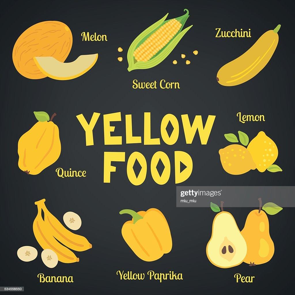 Yellow food collection. Melon, sweet corn, zucchini, quince, lemon, banana