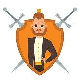Yellow frame, modern prince with brown hair and beard