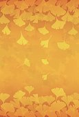 Yellow ginkgo leaves background illustration