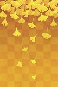 Yellow ginkgo leaves in orange gradient background