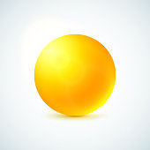Yellow glossy sphere isolated on white