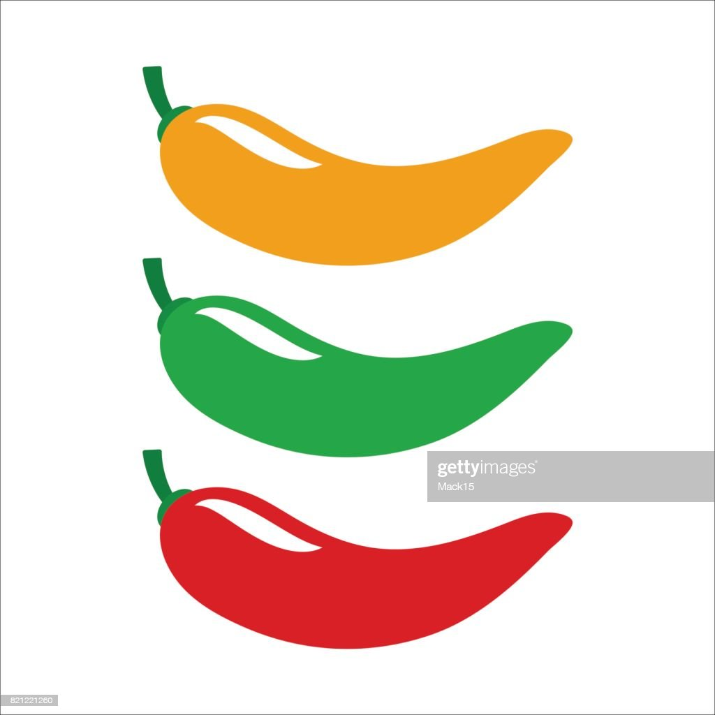 Yellow, green and red chili pepper. Set of vector icons