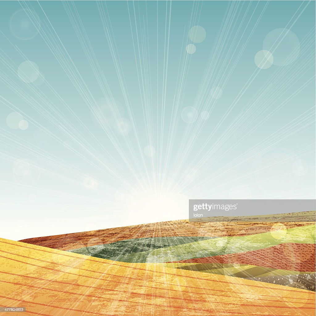 Yellow grunge hills with lens flare and lots of textures