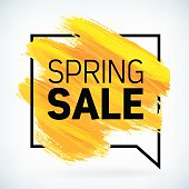 Yellow hand paint artistic dry brush stroke spring sale.