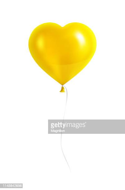 黄色いハート形の風船にシルバーリボン - 風船点のイラスト素材/クリップアート素材/マンガ素材/アイコン素材