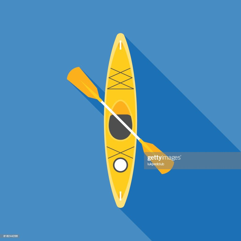 yellow kayak with paddle