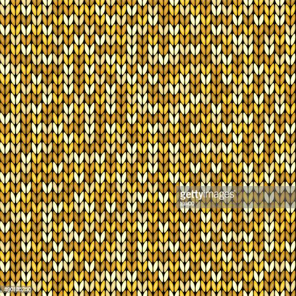 Yellow knitted seamless background pattern