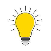 Yellow light bulb icon with rays, idea and creativity symbol, modern thin line art