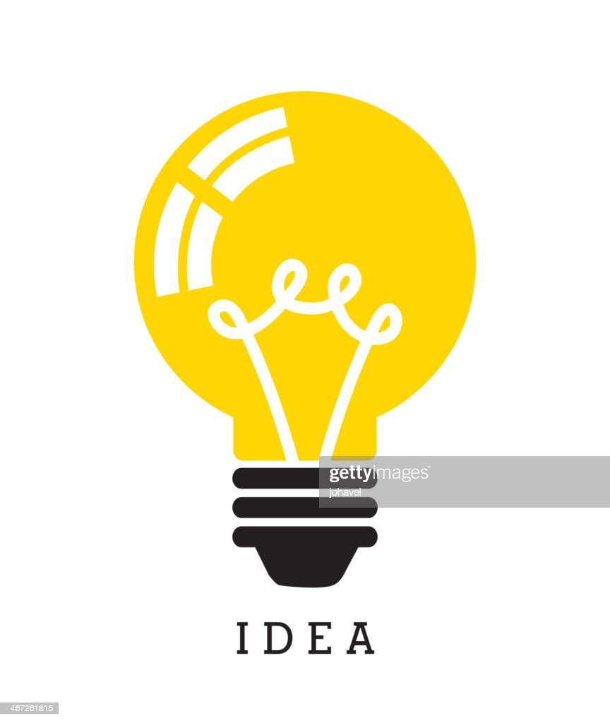 Yellow light bulb with the word idea below it