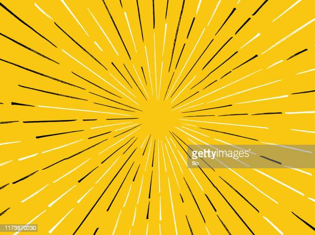 gelbe linie burst hintergrund - blitzbeleuchtung stock-grafiken, -clipart, -cartoons und -symbole
