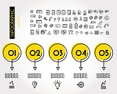yellow linear infographic set of circles with arrows