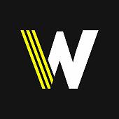 Yellow Lines Geometric Vector Logo Letter W