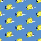 Yellow Longnose Butterflyfish seamless pattern