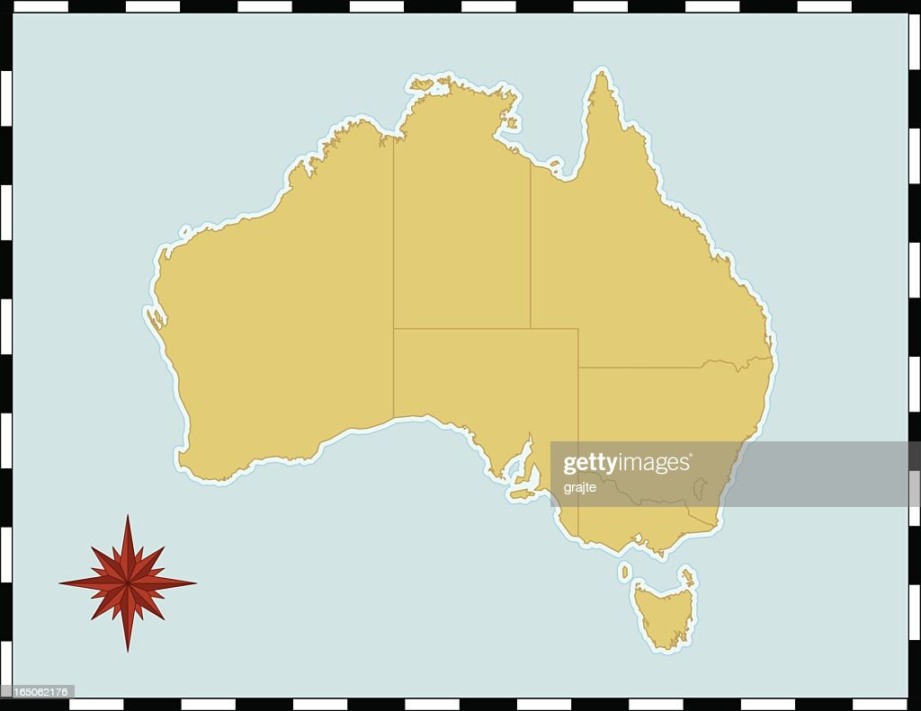 Yellow map of Australia with compass rose