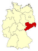 Yellow map of Germany with federal state Saxony