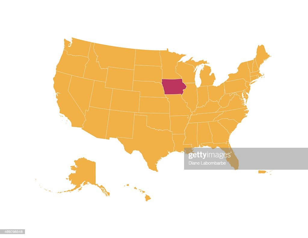 Yellow Map Of Usa With Iowa State Isolated In Red Vector Art | Getty ...