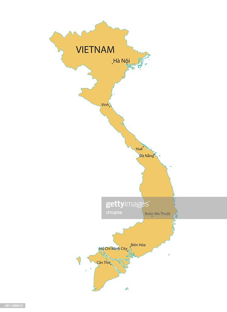 yellow map of Vietnam