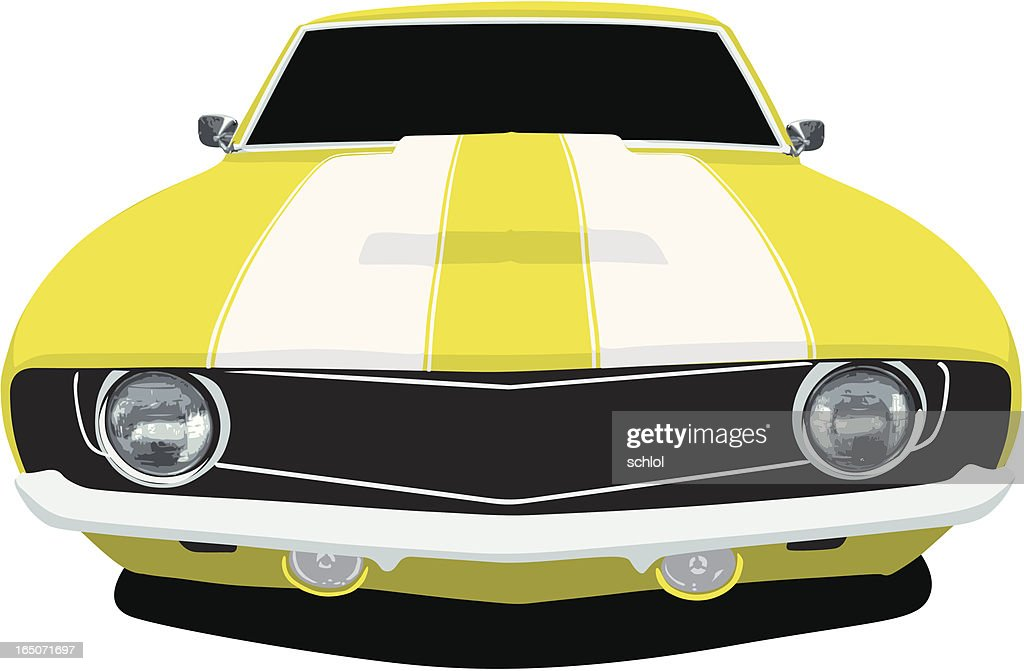 Yellow Muscle Car Front