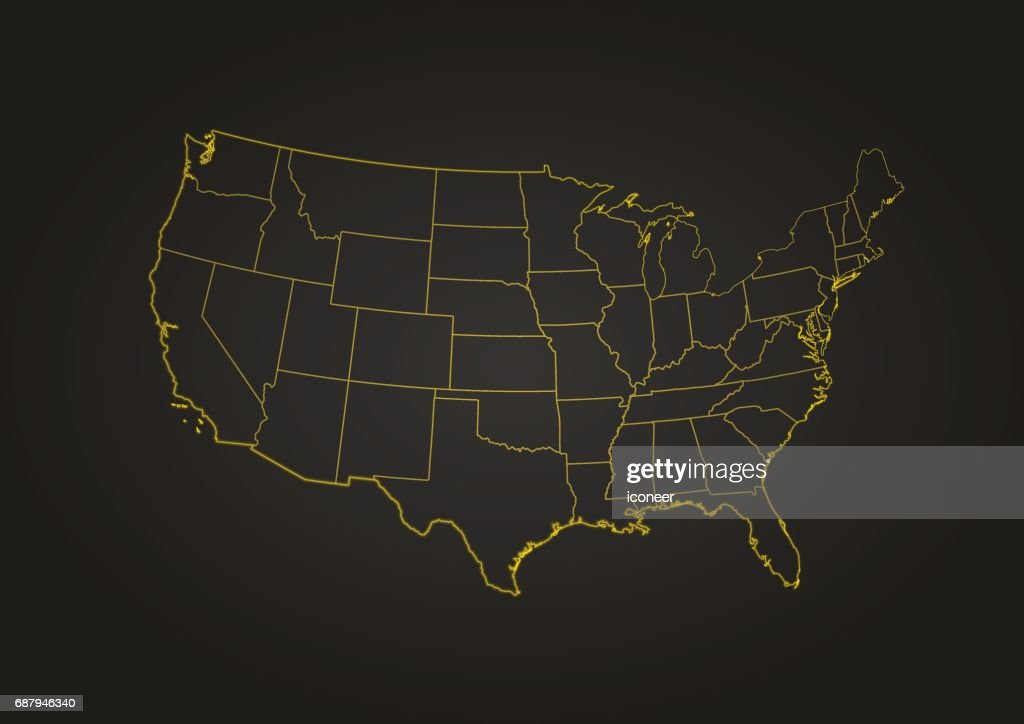 Map Of Usa At Night.Usa Yellow Night Map On Dark Background Vector Art Getty Images