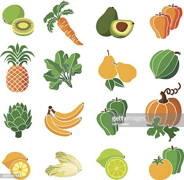 yellow, orange and green produce - endive stock illustrations, clip art, cartoons, & icons