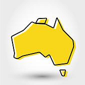 yellow outline map of Australia