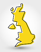 yellow outline map of UK