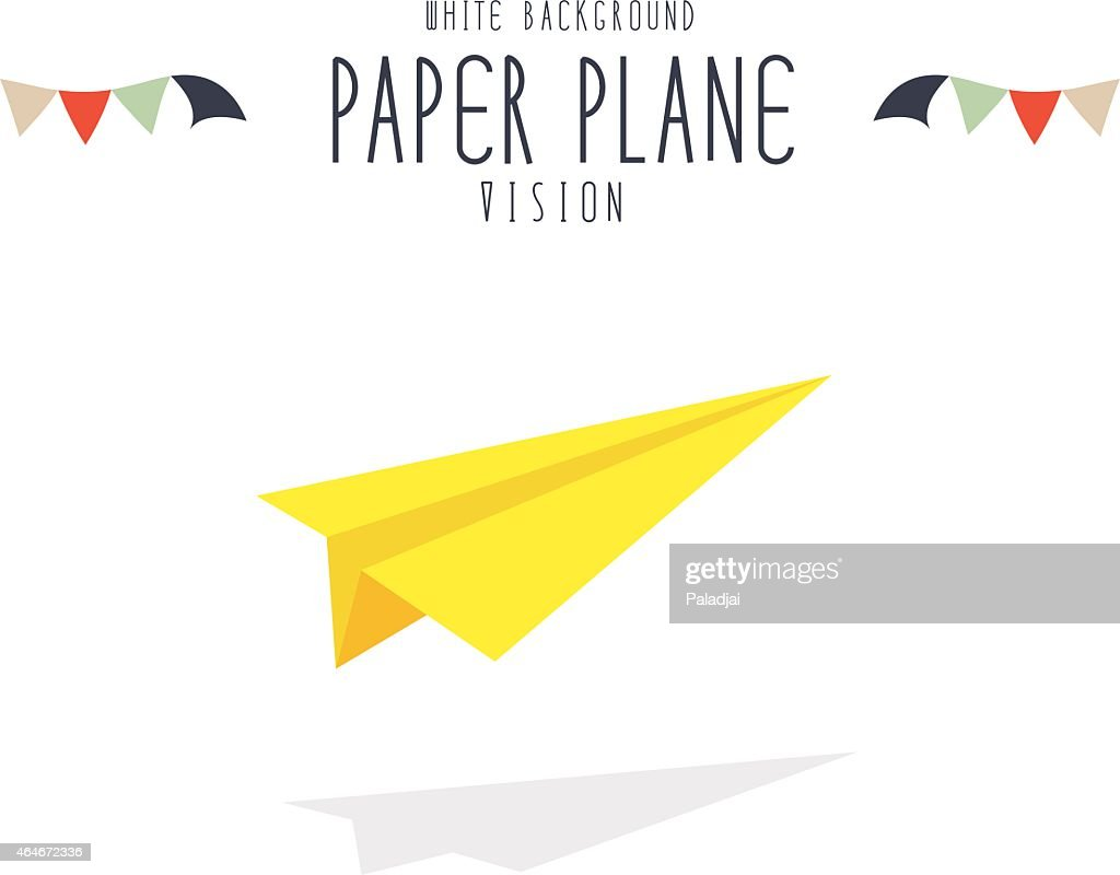 Yellow paper plane on white background.