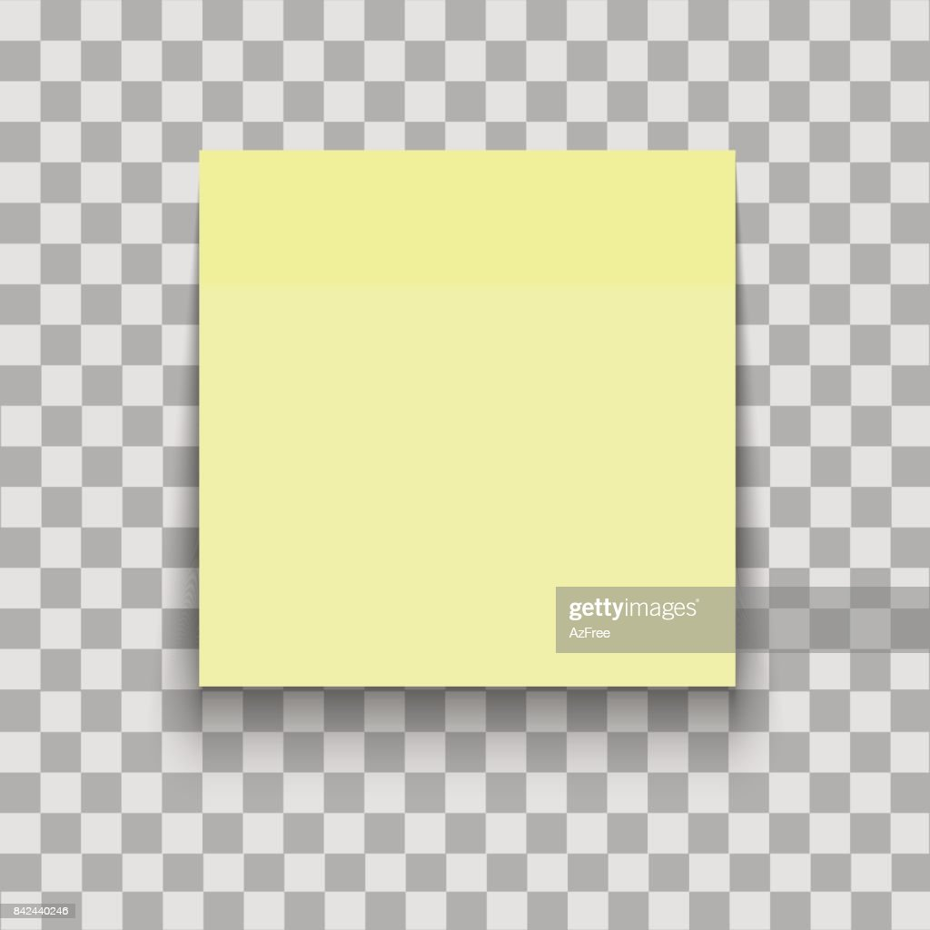 Yellow Paper sheet on translucent sticky tape with shadow. Empty note template for your design. Vector illustration