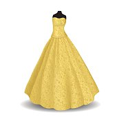 yellow party dress on a white background
